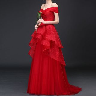 Royal Style - Off Shoulder Frilled A-line Evening Gown