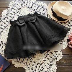 YOYO - Lace-Trim Bow-Accent Skirt