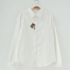 Jill & Jane - Long-Sleeve Cat-Embroidered Blouse