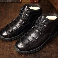 SHEN GAO - Genuine-Leather Fleece-Lined Short Boots
