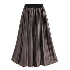 Coronini - Accordion Pleat Midi Velvet Skirt