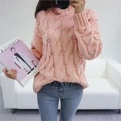 PINKSISLY - Mock-Neck Cable-Knit Sweater