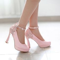 Pastel Pairs - Rhinestone Ankle Strap Pumps