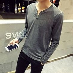 Zeesebon - Plain Long Sleeve Henley T-Shirt