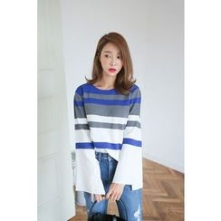 PPGIRL - Bell-Sleeve Striped Knit Top