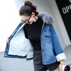 Romantica - Furry-Collar Fleece-Lined Denim Jacket