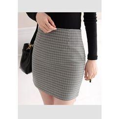 DEEPNY - Zip-Side Check Mini Skirt