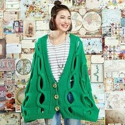 Sam's Tree - Plain Open-Knit Cardigan