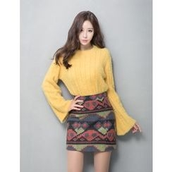 GUMZZI - Set: Rib-Knit Sweater + Skirt
