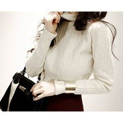 Marlangrouge - Turtle-Neck Cable-Knit Top