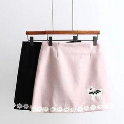 Angel Love - Deer Embroidered A-Line Skirt
