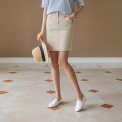 JUSTONE - Band-Waist Zip-Front Mini Skirt