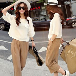 EFO - Set: Elbow-Sleeve Top + Wide-Leg Pants