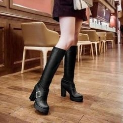 Pangmama - Faux Leather High-Heel Long Boots