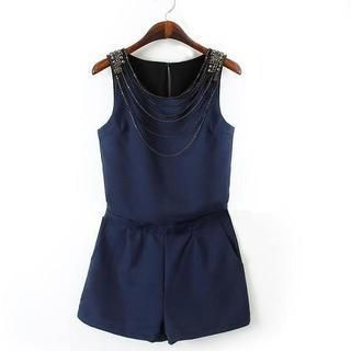 JVL - Sleeveless Chain-Accent Playsuit