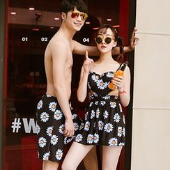 Little Dolphin - Couple Matching Floral Print Cutout Swimdress / Swim Shorts