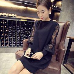气质淑女 - 蕾丝袖针织连衣裙