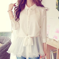 Dabuwawa - Set: Long-Sleeve Tie-Hem Cropped Blouse + Paneled Plain Camisole Top