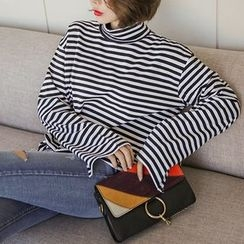 Seoul Fashion - Turtle-Neck Stripe Cotton Top