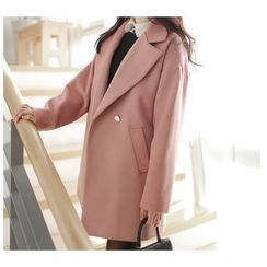 MyFiona - Metallic-Button Double-Breasted Coat