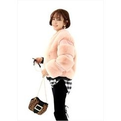 ssongbyssong - Open-Front Faux-Fur Jacket