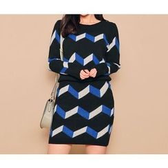 HOTPING - Set: Round-Neck Pattern Knit Top + Band-Waist Skirt