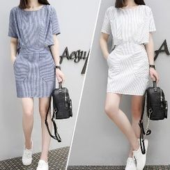 Romantica - Short-Sleeve Striped Sheath Dress