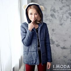 OrangeBear - Ear-Accent Fleece-Panel Hooded Jacket