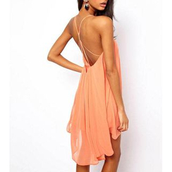 Dream a Dream - Strappy Open Back Chiffon Dress