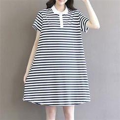 Everose - Short-Sleeve Striped Polo Dress