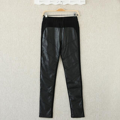 SO Central - Faux Leather Front Panel Legging