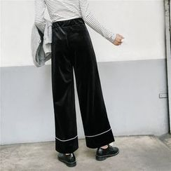 Big Cat - Contrast Trim Wide Leg Pants