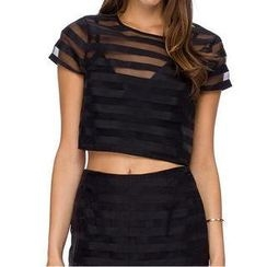 Richcoco - Short-Sleeve Mesh Cropped Top
