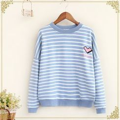 Fairyland - Heart Embroidered Striped Pullover