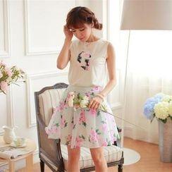 Porta - Set: 'G' Appliqué Sleeveless Top + Floral A-Line Skirt