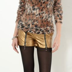 59 Seconds - Zip-Accent Metallic Shorts