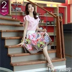 Romantic Factory - Set: Ruffled-Layered Top + Pleated-Accent Floral A-Line Skirt