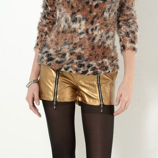 YesStyle Z - Zip-Accent Metallic Shorts