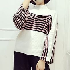 lilygirl - Striped Mock Neck Sweater