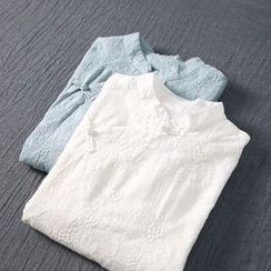 蘭芝 - 刺繡立領短袖連衣裙