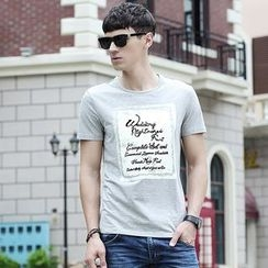 Croni - Lettering Short Sleeve Crewneck T-Shirt