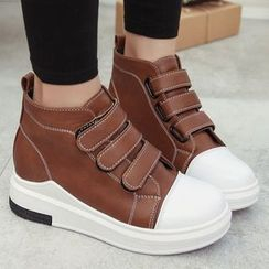 Max Dash - Faux Leather Velcro High-top Sneakers