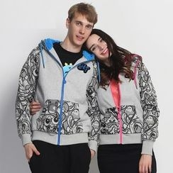 HappyTee - Applique Printed Couple Hoodie