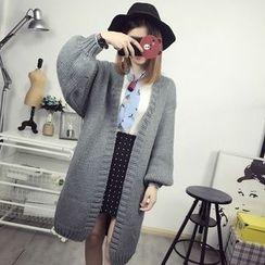 Maine - Plain Long Knit Cardigan