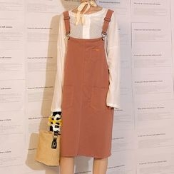 Heynew - Plain Midi Pinafore Dress