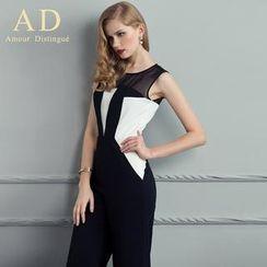 Aision - 无袖拼接连体裤