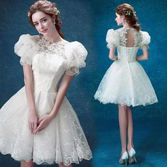 Angel Bridal - Puff-Sleeve Lace Panel Mini Prom Dress