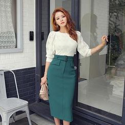 DABAGIRL - Buttoned Midi Pencil Skirt with Belt