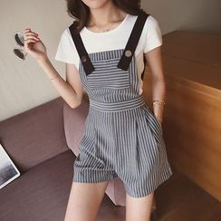 Cocofield - Set: Plain Short-Sleeve T-Shirt + Striped Jumper Shorts