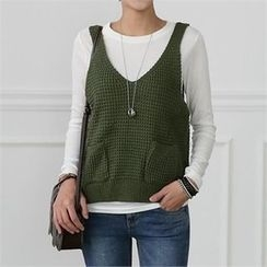 CHICFOX - V-Neck Sleeveless Rib-Knit Top